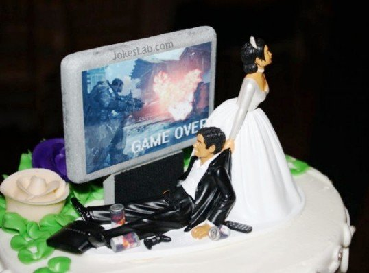 Funny wedding cake: game over