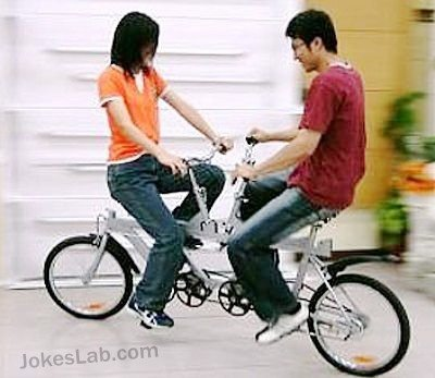 Funny bicycle for couple