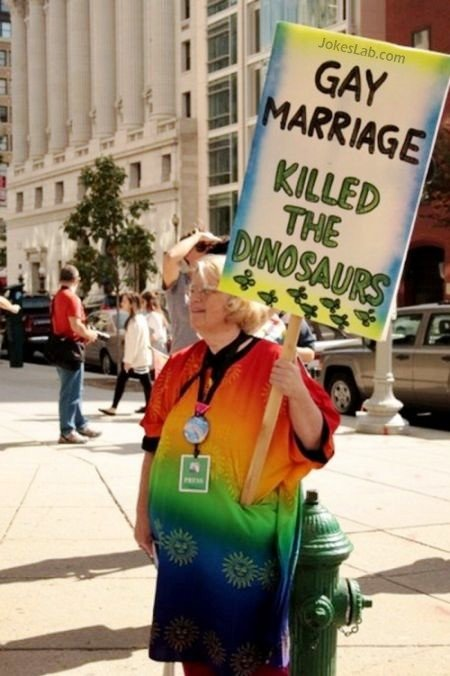 Gay marriage killed dinosaur