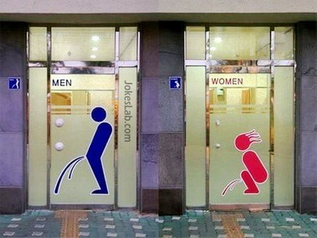 Funny toilet sign, man's and woman's