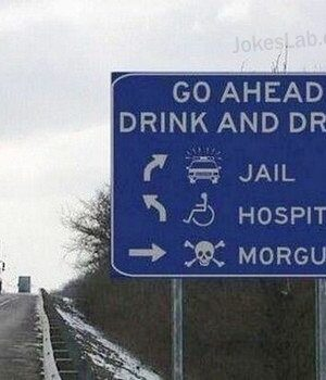 Road sign for drink and drive