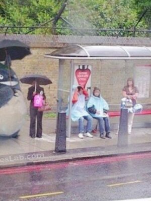 Japanese cartoon in bus stop
