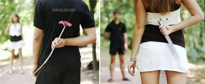 gift-from-man-and-woman-flower-and-knife