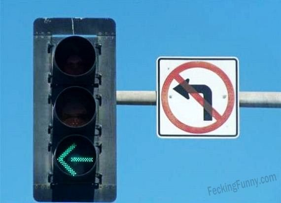 Funny road sign, no left turn