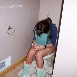Drunken and sleep girl: sleep with dustbin in toilet