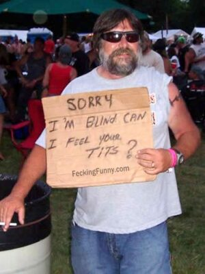 Funny beggar: can I feel your tits?