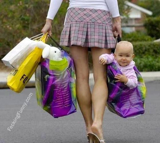 Good parenting: how to carry a baby with a shopping bag