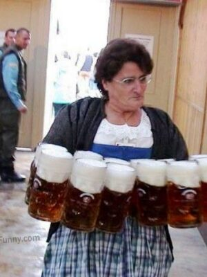 This capable woman can hold 12 jugs