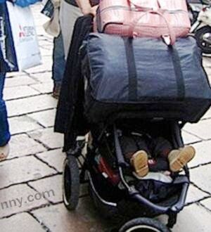 Bad parenting: carry baby with luggage