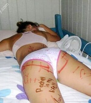 Drunken and sleeping girl: body marked