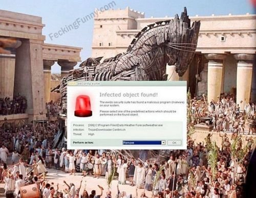 Trojan detected by antivirus software