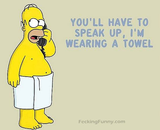 Funny Homer, you have to speak louder as I am wearing a towel