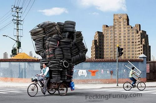 Overloaded tricycle-seen in China