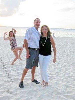 Funny woman on beach
