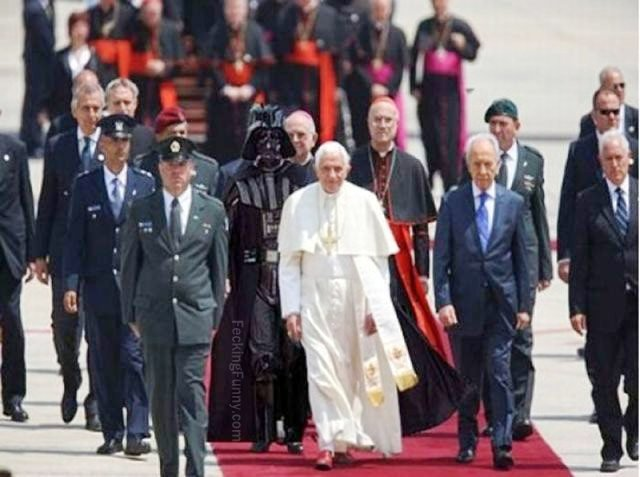 Mysterious guy following the Pope