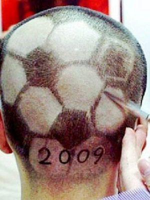 Hairdo for hardcore football fan