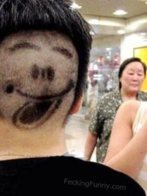 Funny hairdo:rear face