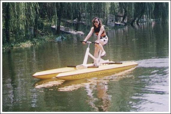 Girl riding water bicycles