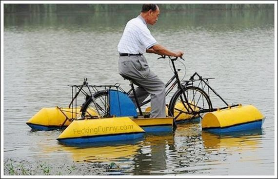 Water bicycles in action