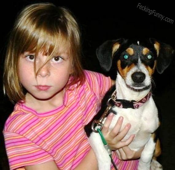 Look-like girl and her dog
