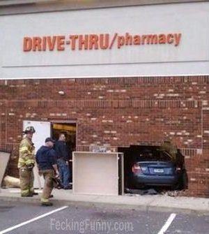Funny car accident: drive-thru
