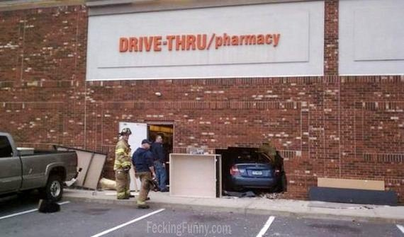 Funny car accident: drive-thru