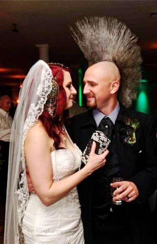 Funny wedding hairdo: cock