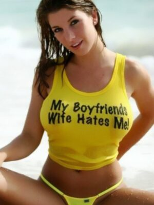 shit slogan: my boyfriend's wife hate my boobs