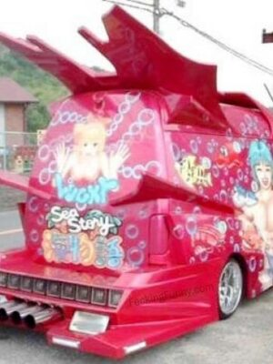 Funny blonde car