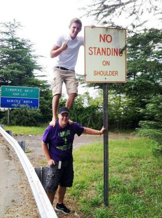 No standing on shoulder