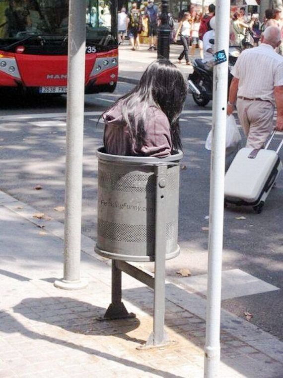 Girl in dustbin