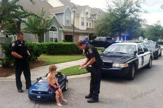 Boy getting his first traffic ticket