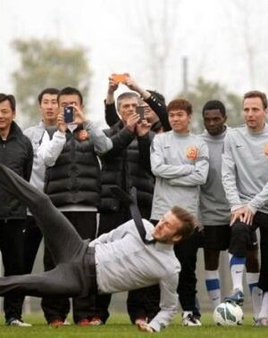 David Beckham falling in China