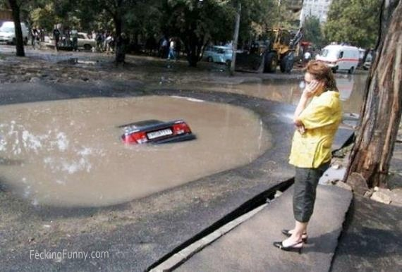 Parking car in pond