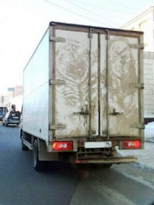 Dirty yet artistic lorry