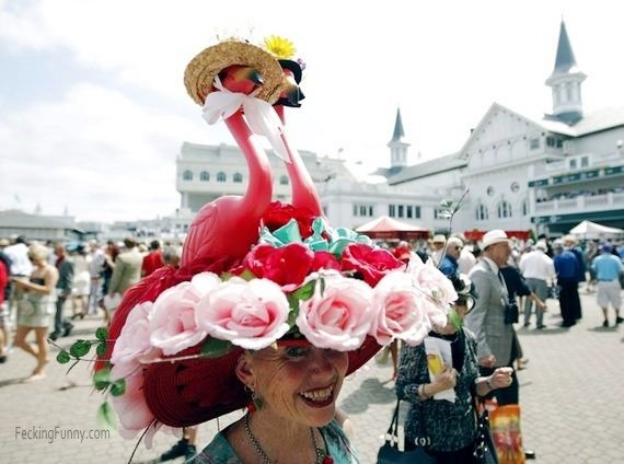 Kentucky Derby hat: flamingo