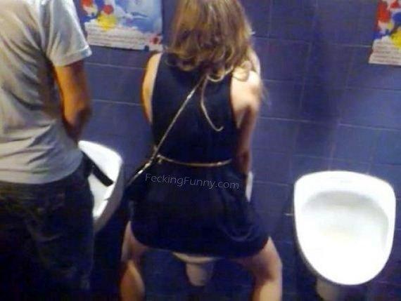 Drunken woman in man