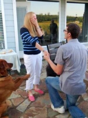 Dog proposing marriage