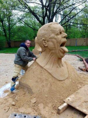 Funny sand sculpture