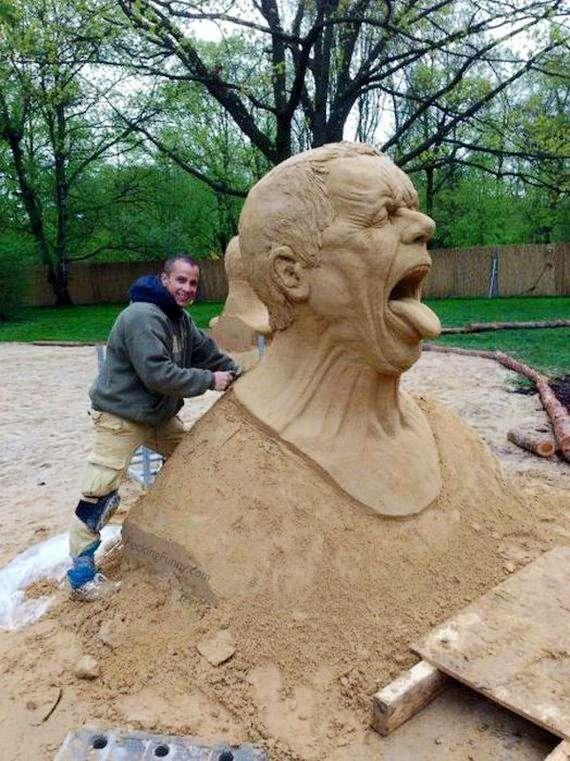 Funny sand sculpture