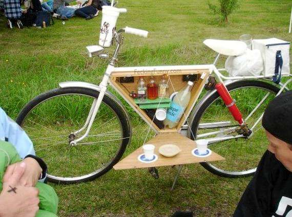 mobile coffee table in bicycle