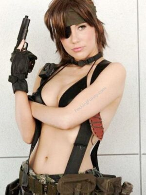 Sexy cosplay girl with a gun