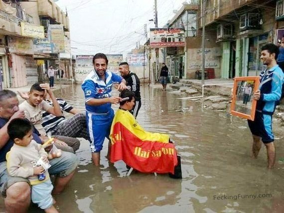 barber service during flood