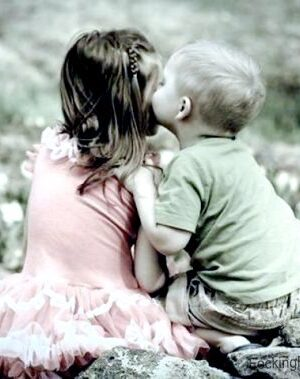 Kissing boy and girl