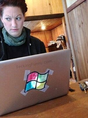 Microsoft laptop: an Apple hater