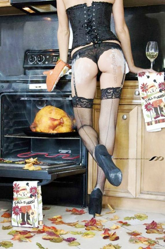 sexy-housewife and-roasted-turkey