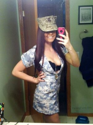 Smiling army girl selfshot