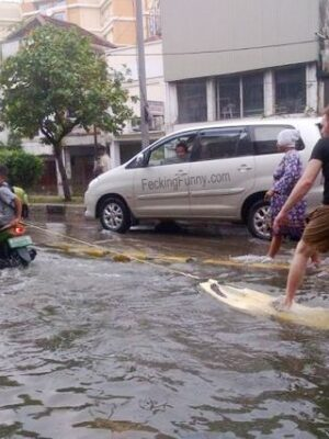 Water skiing on street