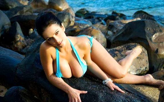 bikini-girl-big-boobs-on-rock