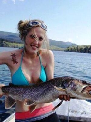 Bikini fishing girl with brain